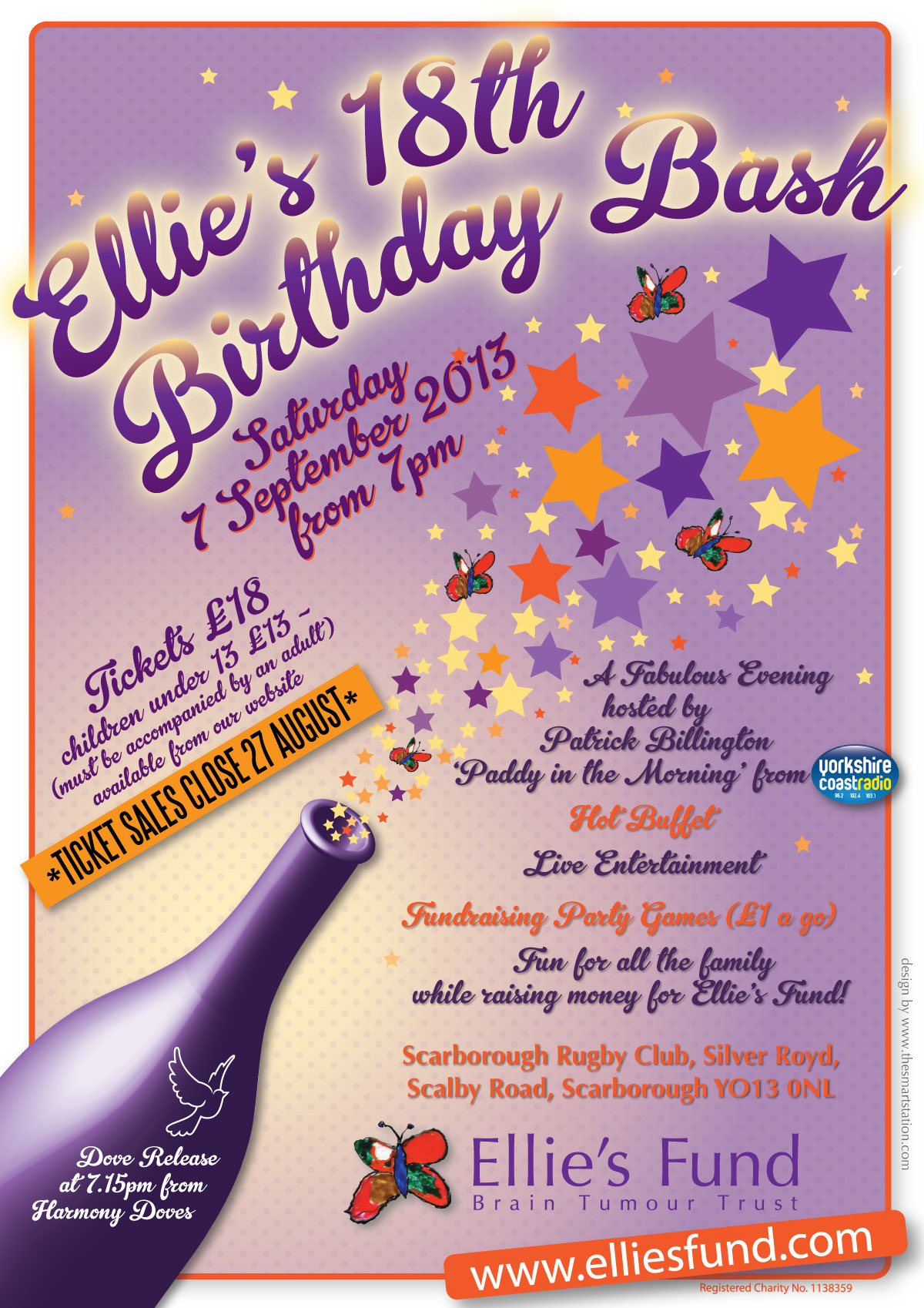 Ellie's Fund 18th Birthday poster designed by Gaynor Carr at The Smart Station